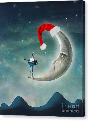 Christmas Moon Canvas Print by Juli Scalzi