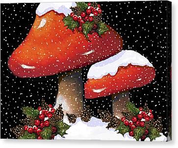 Christmas Mushrooms In Snow Canvas Print by Joyce Geleynse