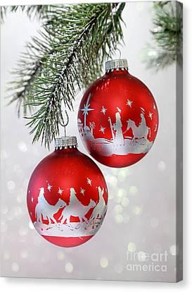 Christmas Nativity Ornaments Canvas Print by Pattie Calfy
