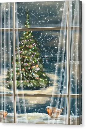 Frosty Canvas Print - Christmas Night by Veronica Minozzi