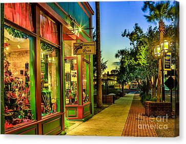 Canvas Print featuring the photograph Sunset Christmas Store by Paula Porterfield-Izzo