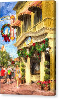 Christmas On Main Canvas Print by Michael Petrizzo