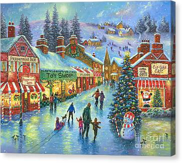 Christmas On Peppermint Lane Canvas Print