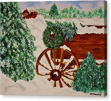 Canvas Print featuring the painting Christmas On The Farm by Celeste Manning