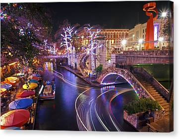 Christmas On The River Walk 3 Canvas Print by Paul Huchton