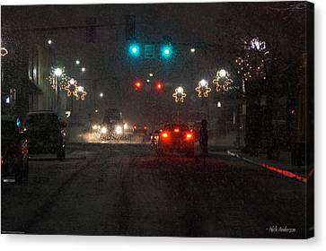 Christmas On The Streets Of Grants Pass Canvas Print by Mick Anderson