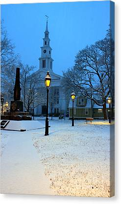 Christmas On The Town Common Canvas Print