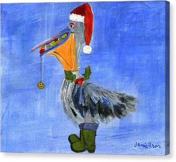 Christmas Pelican Canvas Print by Jamie Frier