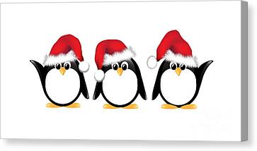 Wildlife Celebration Canvas Print - Christmas Penguins Isolated by Jane Rix
