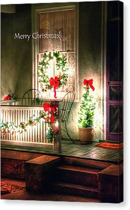 Christmas Porch Canvas Print by Jerry Sodorff
