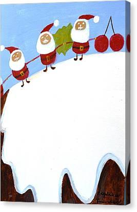 Christmas Pudding And Santas Canvas Print by Magdalena Frohnsdorff