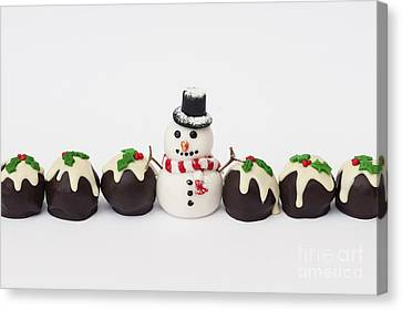 Christmas Pudding Chocolates And Snowman Canvas Print by Tim Gainey