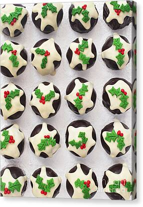 Christmas Pudding Chocolates Pattern Canvas Print by Tim Gainey