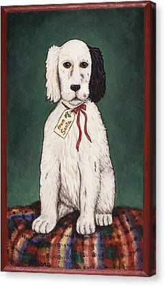 Christmas Puppy Canvas Print by Linda Mears