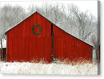 Christmas Red Canvas Print by Clare VanderVeen