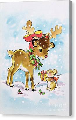 Christmas Reindeer And Rabbit Canvas Print by Diane Matthes