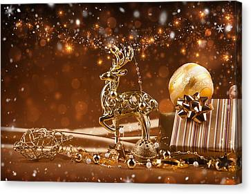 Christmas Reindeer In Gold Canvas Print by Doc Braham
