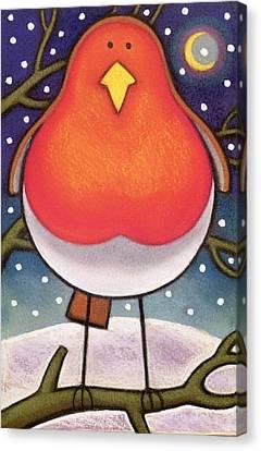 Yellow Beak Canvas Print - Christmas Robin by Cathy Baxter