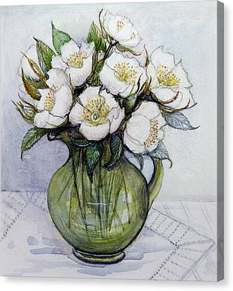 Christmas Roses Canvas Print by Gillian Lawson