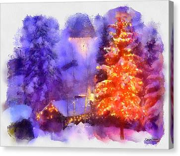 Canvas Print featuring the painting Christmas Scenes 1 by Wayne Pascall