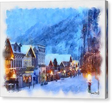 Canvas Print featuring the painting Christmas Scenes 2 by Wayne Pascall