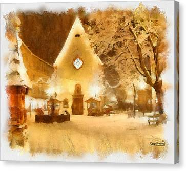 Canvas Print featuring the painting Christmas Scenes 3 by Wayne Pascall