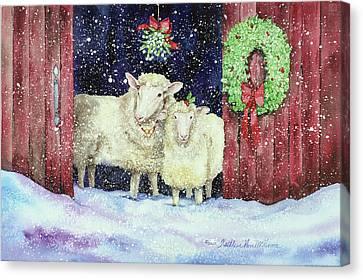 Christmas Sheep Canvas Print by Kathleen Parr Mckenna