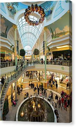 Christmas Shoppers In The Trafford Centre Canvas Print by Ashley Cooper