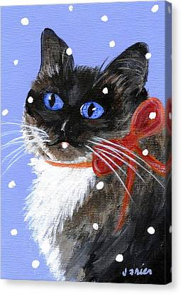 Canvas Print featuring the painting Christmas Siamese by Jamie Frier