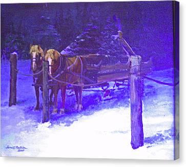Christmas Sleigh Ride - Anticipation Canvas Print by Harriett Masterson