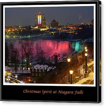 Christmas Spirit At Niagara Falls - Holiday Card Canvas Print by Lingfai Leung