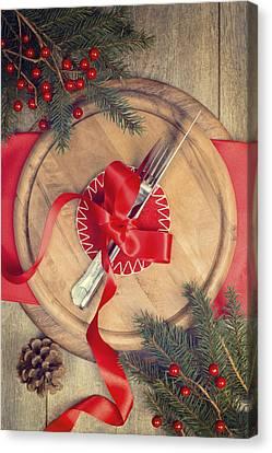 Christmas Table Setting Canvas Print by Amanda Elwell