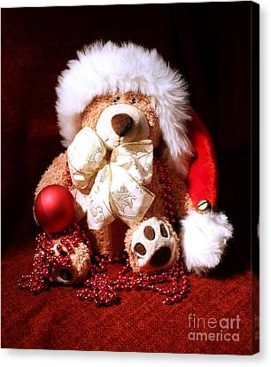 Christmas Teddy Canvas Print by Terri Waters