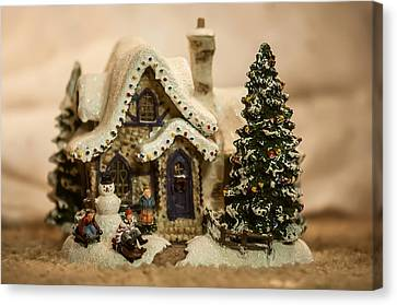 Canvas Print featuring the photograph Christmas Toy Village by Alex Grichenko