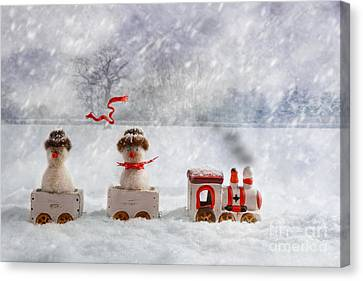 Christmas Train Canvas Print by Amanda Elwell