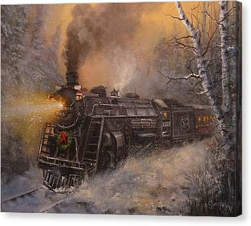 Snow Scenes Canvas Print - Christmas Train In Wisconsin by Tom Shropshire