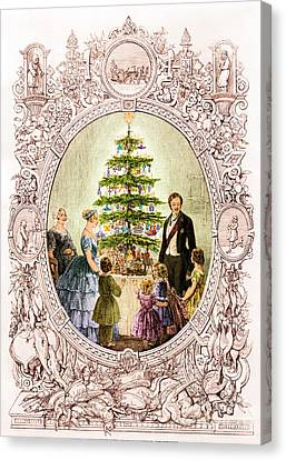 Christmas Tree At Windsor Castle 1848 Canvas Print by Photo Researchers