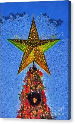 Christmas Tree By Dusk Time Canvas Print by George Atsametakis