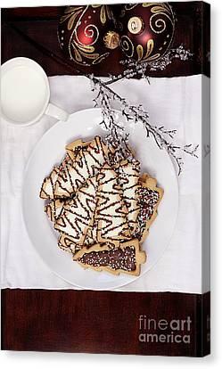 Christmas Tree Cookies An Milk Canvas Print by Stephanie Frey