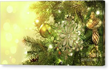 Christmas Tree Decorations With Sparkle Background Canvas Print by Sandra Cunningham