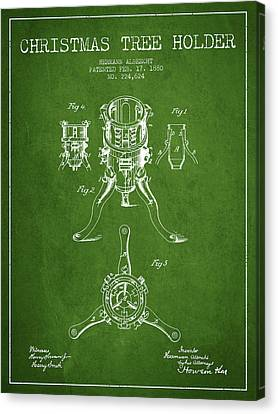 Christmas Tree Holder Patent From 1880 - Green Canvas Print by Aged Pixel