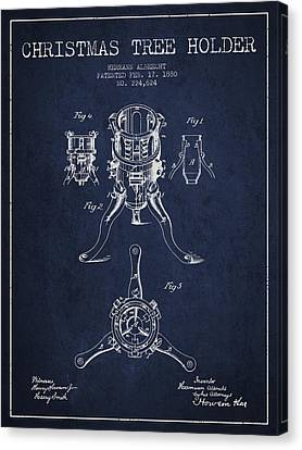Christmas Tree Holder Patent From 1880 - Navy Blue Canvas Print