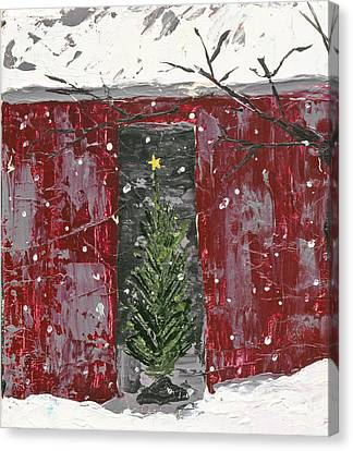 Christmas Tree In Barn Canvas Print by Kirsten Reed