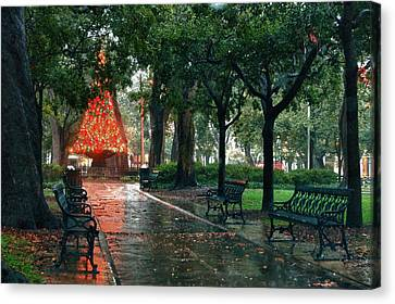 Christmas Tree In Bienville Square Canvas Print by Michael Thomas