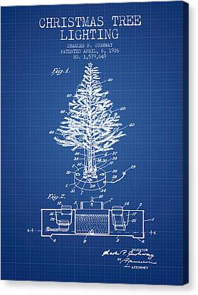 Christmas Tree Lighting Patent From 1926 - Blueprint Canvas Print by Aged Pixel