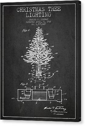 Christmas Tree Lighting Patent From 1926 - Dark Canvas Print by Aged Pixel