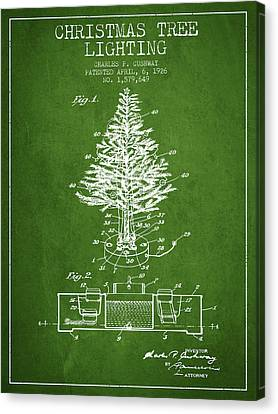 Christmas Tree Lighting Patent From 1926 - Green Canvas Print by Aged Pixel