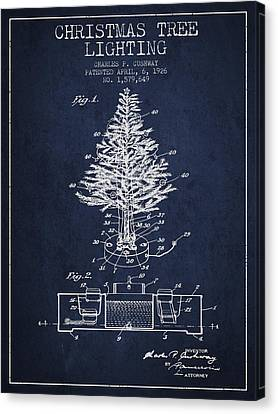 Christmas Tree Lighting Patent From 1926 - Navy Blue Canvas Print