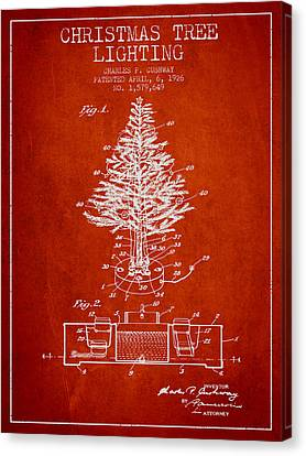 Christmas Tree Lighting Patent From 1926 - Red Canvas Print