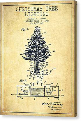 Christmas Tree Lighting Patent From 1926 - Vintage Canvas Print by Aged Pixel